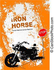 grigio, image., illustrazione, vettore, motocicletta, fondo, arancia