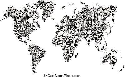 grigio, mappa, tessuto legno, mano, fondo., vettore, nero, mondo, disegnato