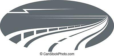 grigio, o, autostrada, sentiero, strada, icona