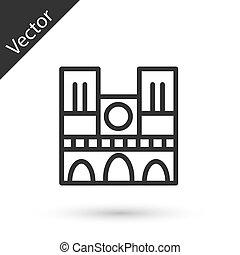 grigio, parigi, icona, vettore, francia, isolato, linea bianca, fondo., notre, de, dama, punto di riferimento