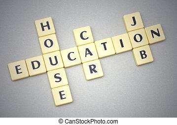 grigio, parole, automobile, casa, educazione, lavoro, fondo