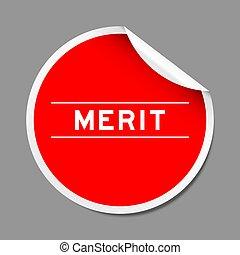 grigio, rosso, colorare, buccia, etichetta, fondo, adesivo, parola, merito