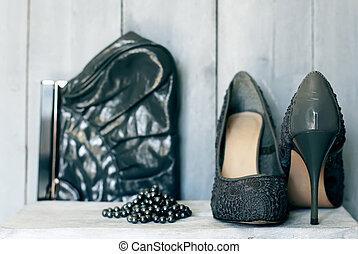 grigio, scarpe