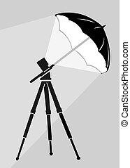 grigio, silhouette, illustrazione, fondo, vettore, treppiede