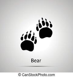 grigio, silhouette, impronte, semplice, orso, paws, passi, nero