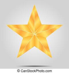 grigio, stella, fondo, oro
