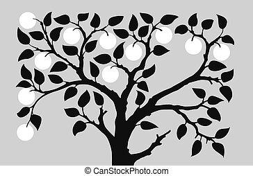 grigio, vettore, silhouette, illustrazione, fondo, albero, aple