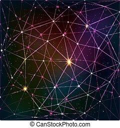 griglia, cosmico, astratto, triangolo, fondo
