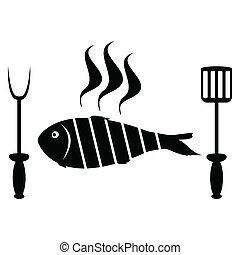 griglia, fish, arrosto, barbecue