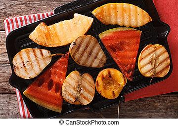 grill., pesca, mela, melone, pera, anguria, cotto ferri, orizzontale, vista superiore