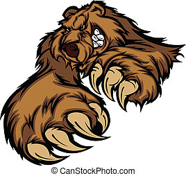 grizzly, corpo, mascotte, paws