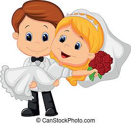 groo, gioco, cartone animato, sposa, bambini