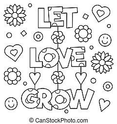grow., page., coloritura, amore, illustration., vettore, permettere