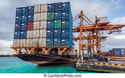 gru, carico, lavorativo, contenitore, nolo, caricamento, nave