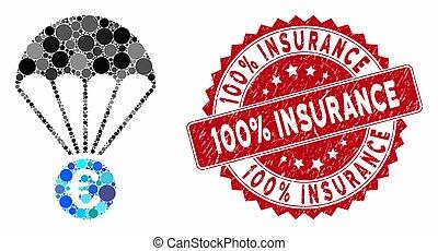 grunge, 100%, paracadute, euro, sigillo, mosaico, assicurazione
