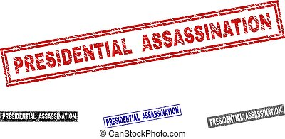 grunge, assassinio, francobolli, presidenziale, textured, rettangolo