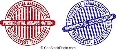 grunge, assassinio, francobolli, textured, rotondo, presidenziale