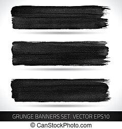 grunge, bandiere, vettore, set