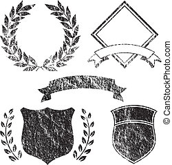 grunge, elementi, bandiera, logotipo