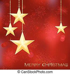 grunge, fondo, neve, elements., natale, festivo, dorato, stelle, rosso, fiocchi