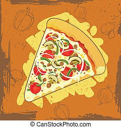 grunge, fondo, pizza