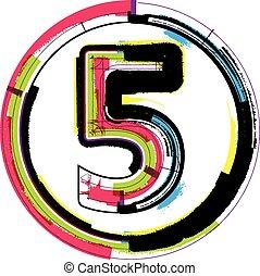 grunge, font, 5, numero, colorito