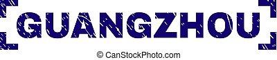 grunge, francobollo, angoli, dentro, guangzhou, sigillo, textured