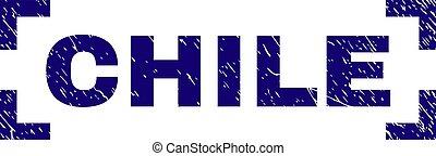 grunge, francobollo, angoli, dentro, sigillo, cile, textured
