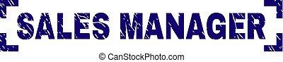 grunge, francobollo, angoli, dentro, sigillo, direttore commerciale, textured