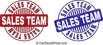 grunge, francobollo, squadra, vendite, sigilli, textured, rotondo