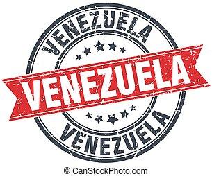 grunge, francobollo, vendemmia, nastro, venezuela, rotondo, rosso