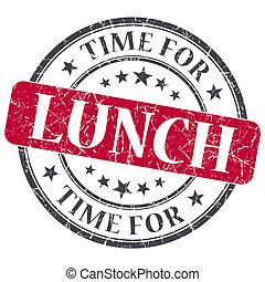 grunge, francobollo, vendemmia, textured, isolato, tempo pranzo, rosso