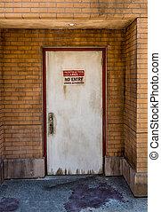 grunge, no, parete, segno., porta, entrata, mattone