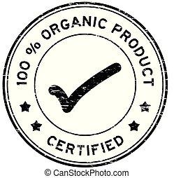 grunge, organico, rotondo, prodotto, percento, francobollo, 100, gomma, certificato, sigillo, nero