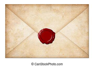 grunge, sigillo, busta, isolato, lettera, cera, posta, bianco, o