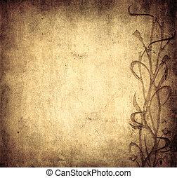 grunge, spazio, testo, immagine, fondo, floreale, o