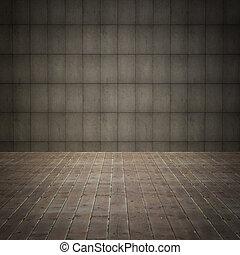 grunge, stanza, pavimento, parete, legno, interno, vecchio