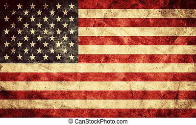 grunge, stati uniti, flag., vendemmia, articolo, bandiere, retro, collezione, mio