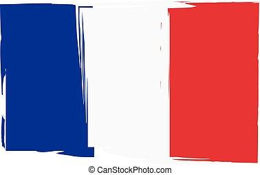 grunge, stendardo bandiera, o, francia