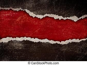 grunge, strappato, bordi, carta, buco nero, rosso