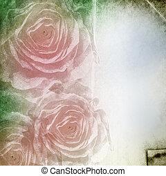 grunge, testo, spazio, textured, fondo, rose