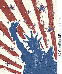grunge, themed, fondo., americano, vector., giorno, indipendenza