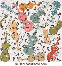 grunge, vendemmia, note, fondo, violini, musicale