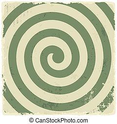 grunge, vendemmia, spirale, fondo., vettore, retro