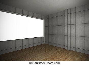 grunge, vuoto, vecchio, legno, parete, pavimento, stanza