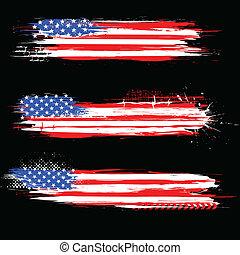grungy, americano, bandiera, bandiera