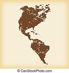 grungy, americano, continenti, icona