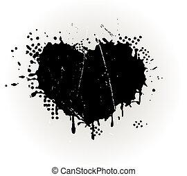 grungy, cuore ha modellato, splat, inchiostro