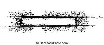 grungy, floreale, cornice, blots, inchiostro