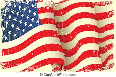 grungy, ondeggiare, bandiera americana